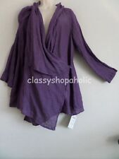 FLAX Purple Linen Wrap Tunic Top / Cover Up - Size Medium - BNWT - RRP £135