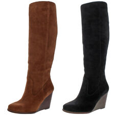 Jessica Simpson Women's Caydee Suede Stacked Wedge Heel Knee-High Tall Boot