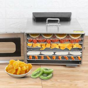 6 Trays Food Dehydrator Dryer Electric Fruit Drying Machine Steel 35L