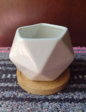 Boho Chic Cute Ceramic Geometric Small Succulent Planter With Bamboo Plate