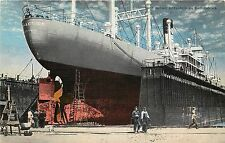 Linen Postcard; Ship Repair in Dry Docks, Mobile AL Largest in Gulf of Mexico