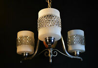 Vintage Danish Art deco 3 chrome plate arms Teak chandelier handmade Opal glass
