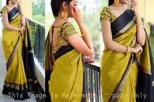 Bhagalpuri Silk Lime and Black combination saree Purple Oyster