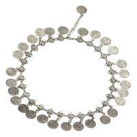 Women's Gypsy Festival Bohemian Coin Tassel Pendant Statement Bib Necklace