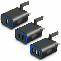Fast Multi Port Wall Charger UK Plug Lightning Charging Cable For iPhone iPad