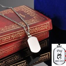 Personalized Engraved Pet Dog Memorial Cremation Jewelry Urn Dog Tags Necklace
