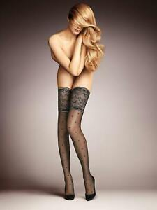 Falke Winsome Night 15 Den Stay Ups Hold-Ups Stockings With Pattern + Lace Band