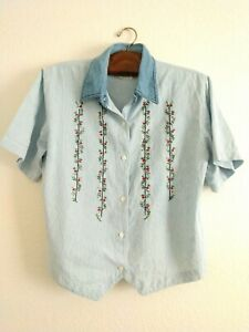 Vintage Floral Embroidered Shirt Striped by Way to Go Cottagecore XL
