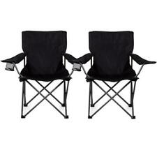 Parkland Folding Camping Fishing Chairs with Cup Holder and Carry Bag, Black - Set of 2