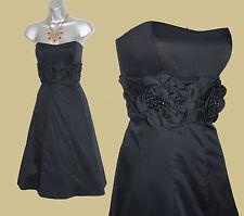 KAREN MILLEN Black Stretchable Cotton Strapless Embellished Evening Dress UK 10