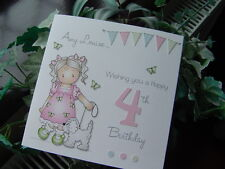 Personalised Handmade Birthday Card Girl 1st, 2nd, 3rd, 4th, 5th, 6th, 7th, 8th