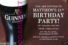 GUINNESS Personalised Party Invitations x10 18th 21st 30th 40th REAL ALE STOUT