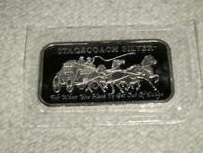 (2)- 1 TROY OZ .999 PURE FINE SOLID SILVER STAGECOACH BULLION SEALED MINT BARS