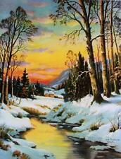 Winter Stream Cabin scene by Wm Thompson vintage art