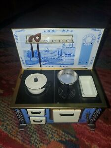 Vintage Schopper Tin Cook Stove, Dollhouse Miniature Furniture West Germany