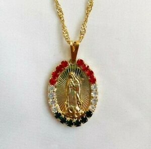0.50ct Multi Colour Sim Diamond Women's Our Lady of Guadalupe Pendant 925 Silver