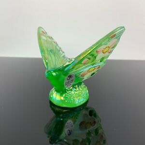 Fenton~Iridescent Willow Green Butterfly~Carnival Glass~Handpainted~2003~#5296