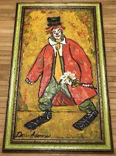 Vtg Clown By Doris Adams Oil Painting Tim Burton's High School Art Teacher