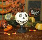Primitive Antique Vtg Style Halloween Paper Mache Jack O Lantern Skeleton Goblet