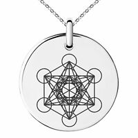 Stainless Steel Metatron's Cube Fruits of Life Symbol Charm Necklace or Keychain
