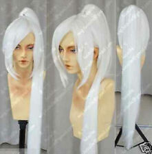 Popular new Long white Cosplay Straight Wig + one clip on Ponytails 100CM