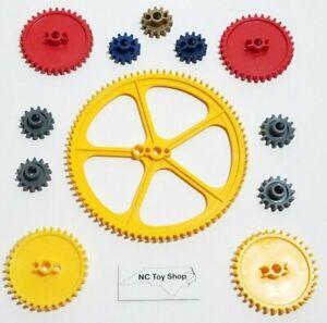 "12 KNEX Gears Lot Large 5"" Yellow Crown, 2.25"" Medium Red, Blue Gray Gold K'NEX"