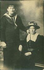 Sailor & Lady  HMS ERIN  RP Postcard QZ.371