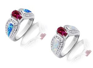 Ruby Red Oval Simulated Diamond and Fire Opal Sterling Silver Cocktail Ring