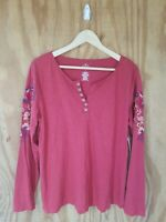 NWT St John's Bay Women's Blouse Long Sleeve V-Neck Embroidered Floral. Size L