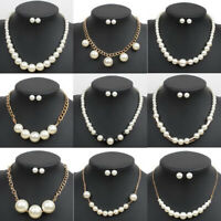 Fashion Women Pendant Pearl Choker Chunky Statement Chain Bib Necklace Jewelry
