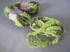 Lot 3 Skeins Needle Crafters Ball Chain Mesh Ruffle Scarf Yarn Sage