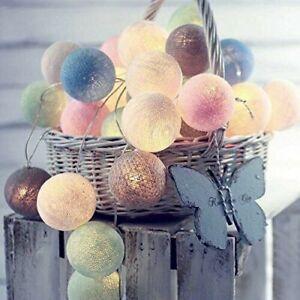 3m Multicoloured Cotton Ball Shape Fairy Lights String Light + 20 LEDs Indoor