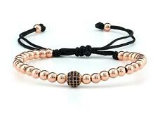 18K Rose Gold Plated Round 4MM Beads & Micro Pave Black CZ Ball Beads Bracelet
