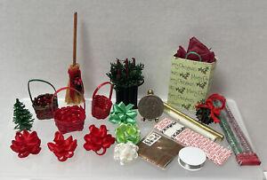Vintage Artisan Christmas Decor Wrap Bows Baskets Dollhouse Miniature 1:12