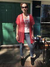 Blush Lace Robe Shortie Nylon VTG Lingerie Ruffles Red Size L