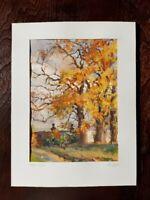 Gouache G. Schiffel, Park im Herbst, signiert, datiert 1945, Landschaft, Gemälde