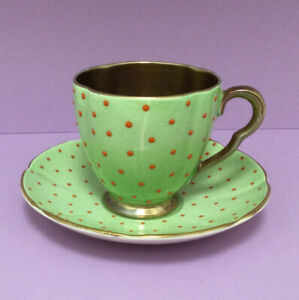 Carlton Ware Art Deco Polka Dot Coffee Cup And Saucer Mint Green And Orange