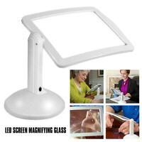 Large Lens Lighted Lamp Desk Magnifier Magnifying Glass Holder LED Light Set