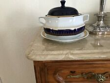 SOUP TUREEN COBALT AND GOLD