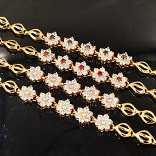 NEW Fashion Women Cubic Zirconia CZ Small Cute Flower Charm Bracelet Jewelry