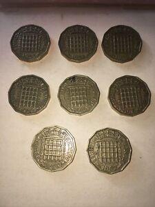 QEII Threepenny Bits 1953/4/5/9/60/62/6/7