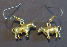 Bull Cow Earrings 24 Karat Gold Plate Moo Farm Steer