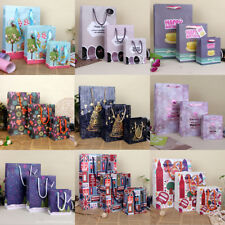 1-10X 2018 New Easter Christmas Craft Paper Party Gift Bags With Handles 3 Size