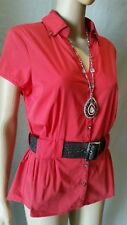 Jacqui-e Top 12 Red Shirt Belted Career Office Blouse Collar Short Sleeves