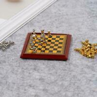 Puppenhaus Miniatur Vintage Silber Gold Schachspiel 1 12th ^ Toy Scale Pret