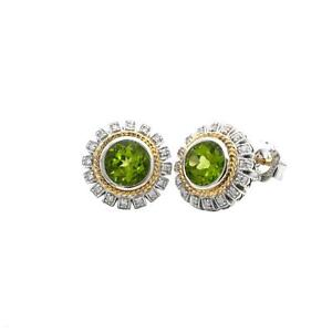 Andrea Candela 18k Sterling Silver Diamond Peridot Sunflower Earrings ACE359/16