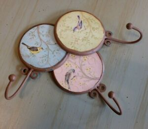 New Metal Japanese Shabby Chic French Floral Rustic BIRD Coat Towel Wall Hook