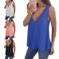 Women V-neck Sleeveless Vest Top Tank Chiffon Casual Solid S-5XL Loose Summer
