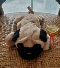 NEW Beanie Babies Pugsly the Pug Dog MULTIPLE ERRORS PVC Pellets 1996 RARE