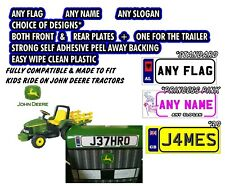 KIDS RIDE ON JOHN DEERE TRACTOR PERSONALISED NUMBER PLATE STICKERS ANY NAME/FLAG